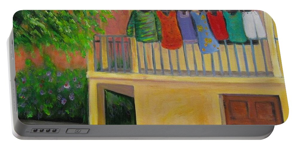 Laundry Portable Battery Charger featuring the painting Laundry Day by Laurie Morgan