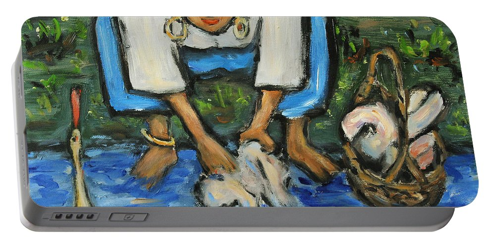 Figurative Portable Battery Charger featuring the painting Laundry Girl by Xueling Zou