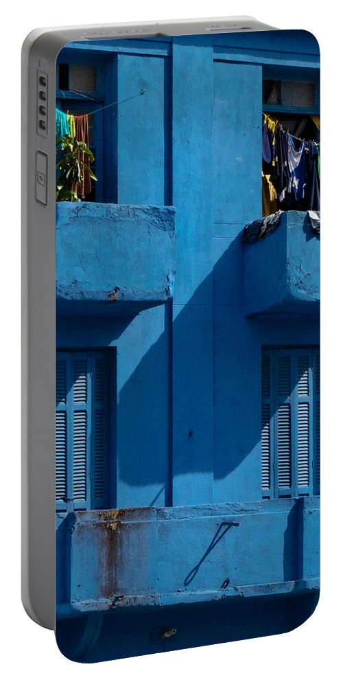 Blue Portable Battery Charger featuring the photograph Laundry - Sao Paulo by Julie Niemela