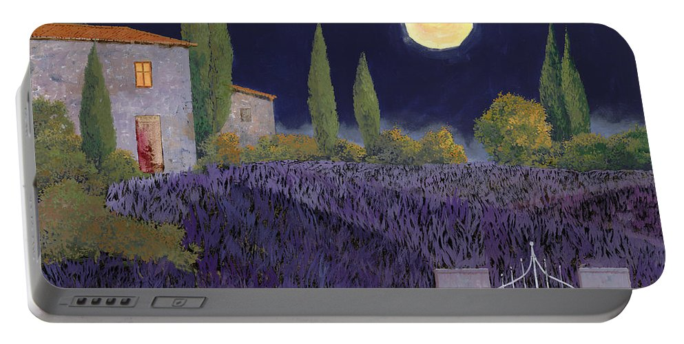 Tuscany Portable Battery Charger featuring the painting Lavanda Di Notte by Guido Borelli