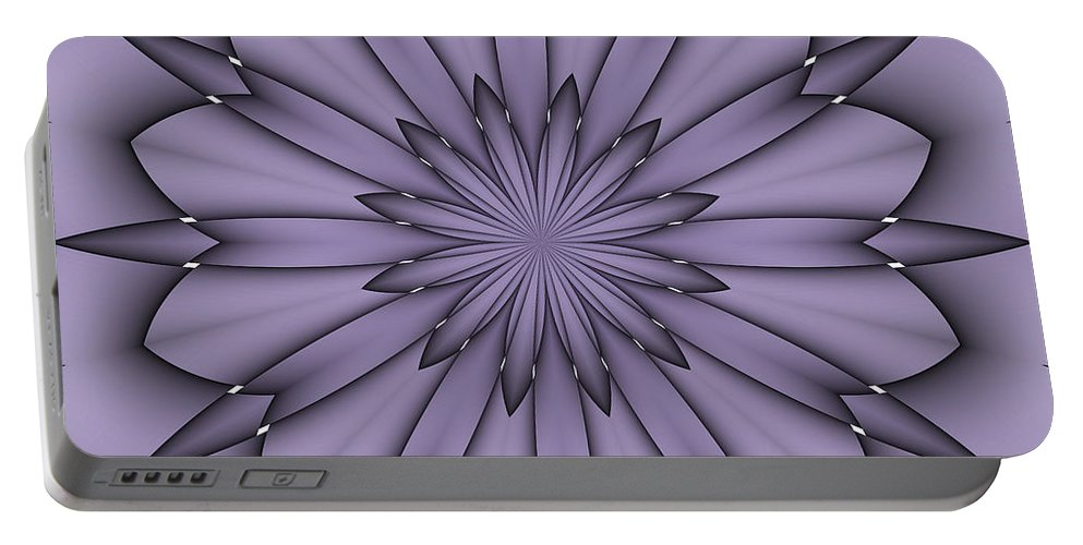 Pattern Portable Battery Charger featuring the digital art Lavender Abstract Flower by Lena Photo Art