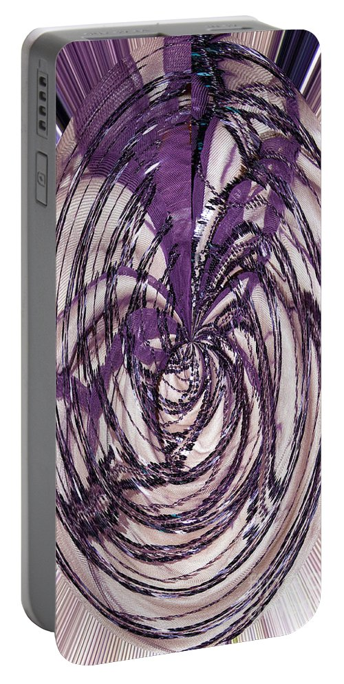 Bead Art Abstract Portable Battery Charger featuring the digital art Lavender Bead Art by Mae Wertz