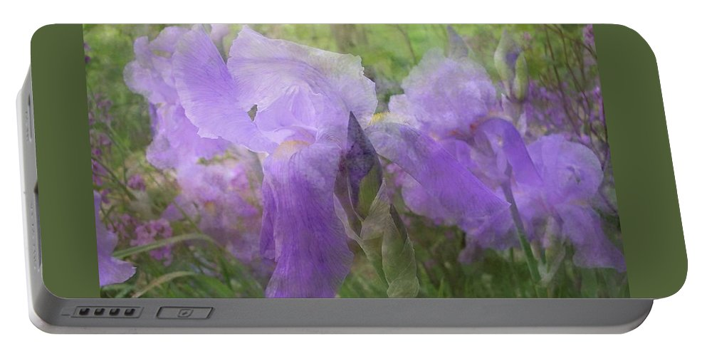 Iris Portable Battery Charger featuring the photograph Lavender Blue Iris Garden by Mary Wolf