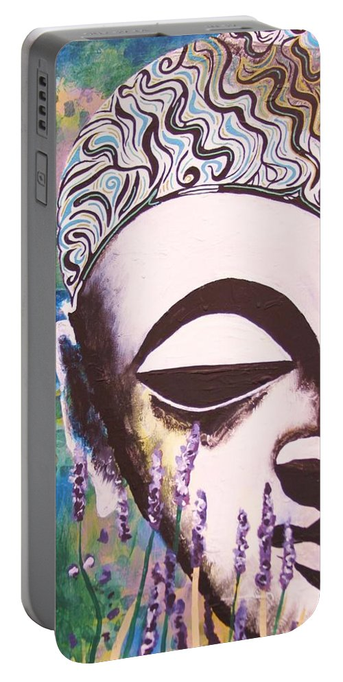 Buddha Portable Battery Charger featuring the painting Lavender Buddha Part One by Kevin J Cooper Artwork