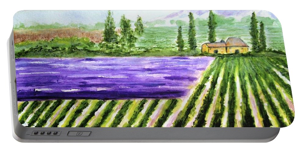 Landscape Portable Battery Charger featuring the painting Lavender Field by Jamie Frier