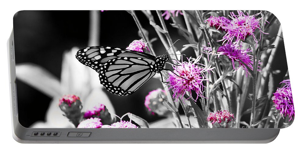 Butterfly Portable Battery Charger featuring the photograph Lavender Flowers by Ms Judi