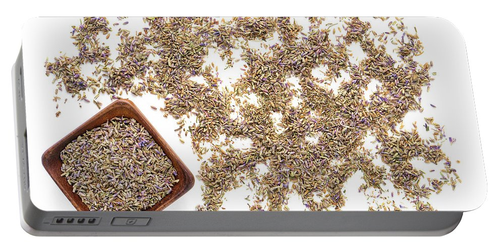 Lavender Portable Battery Charger featuring the photograph Lavender Seeds by Olivier Le Queinec