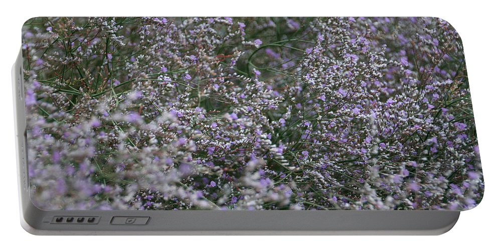 Flower Portable Battery Charger featuring the photograph Lavender Silver Lining by Susan Herber