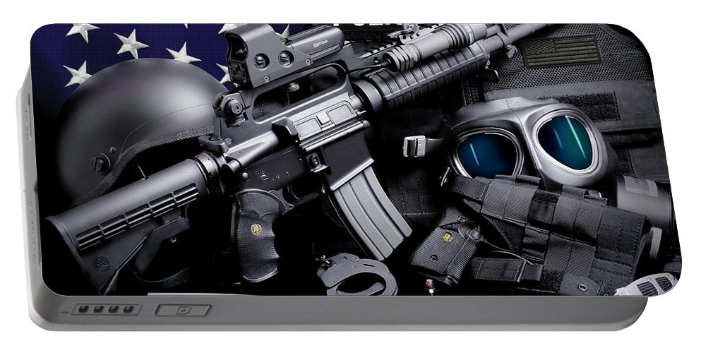 Law Enforcement Portable Battery Charger featuring the photograph Law Enforcement Tactical Police by Gary Yost