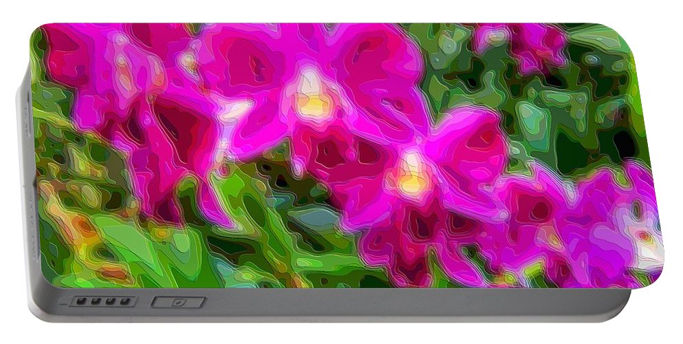 Flower-art Portable Battery Charger featuring the digital art Layer Cut Out Art Flower Orchid by Mary Clanahan