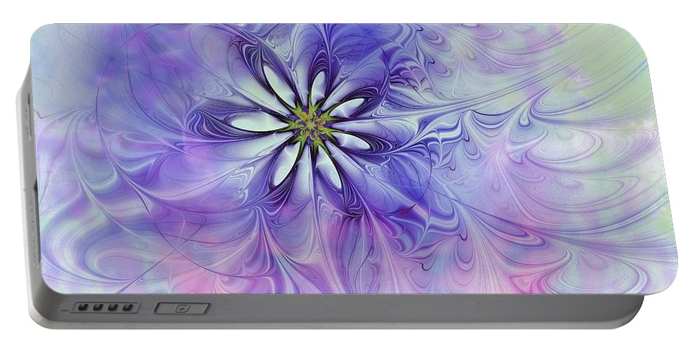Digital Art Portable Battery Charger featuring the digital art Lazy Daisy by Amanda Moore