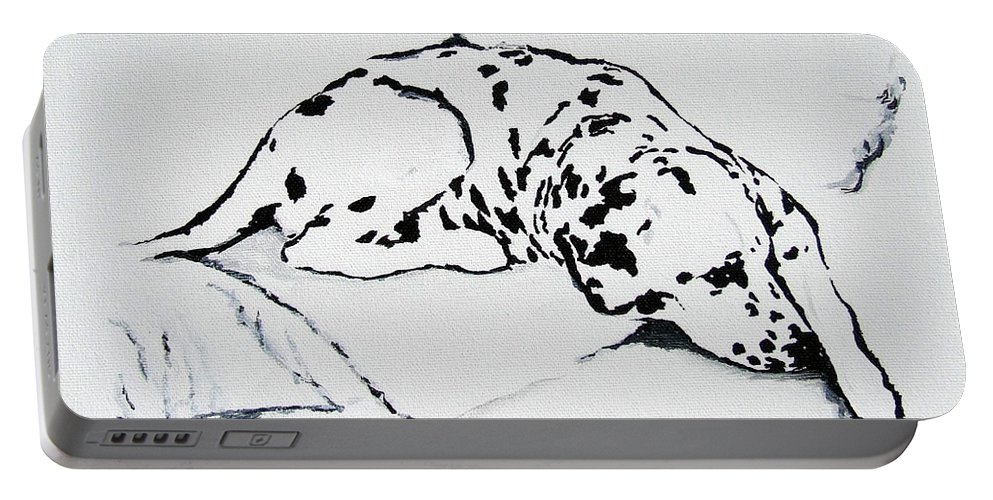 Dogs Portable Battery Charger featuring the painting Lazy Day by Jacki McGovern