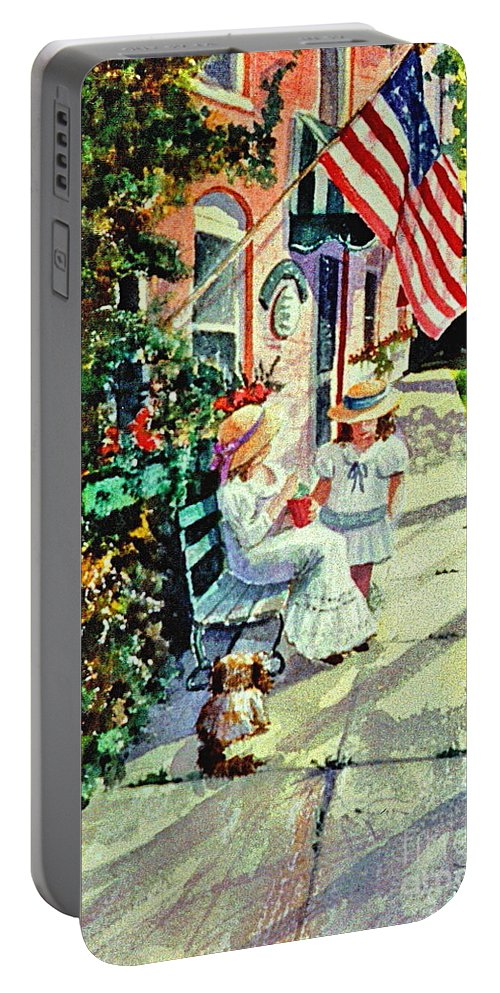 Yesteryear Portable Battery Charger featuring the painting Lazy Days by Marilyn Smith