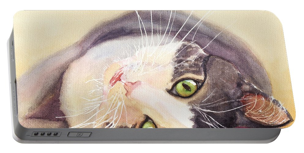Cat Portable Battery Charger featuring the painting Lazy Kitty by Greg and Linda Halom