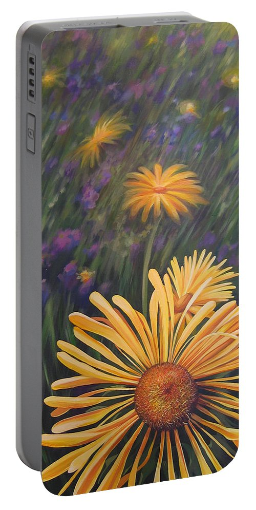 Wildflowers Portable Battery Charger featuring the painting Lazy Sunday by Hunter Jay
