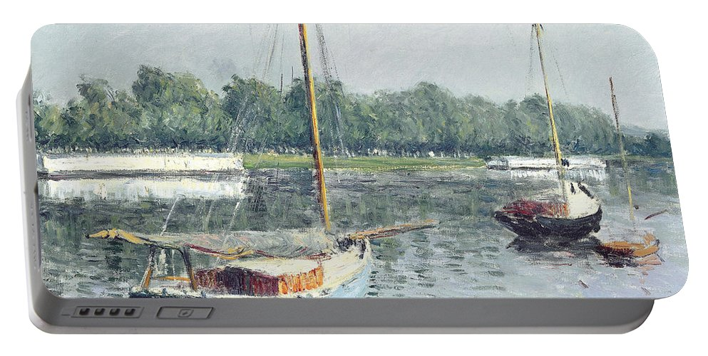 Caillebotte Portable Battery Charger featuring the painting Le Bassin D'argenteuil by Gustave Caillebotte