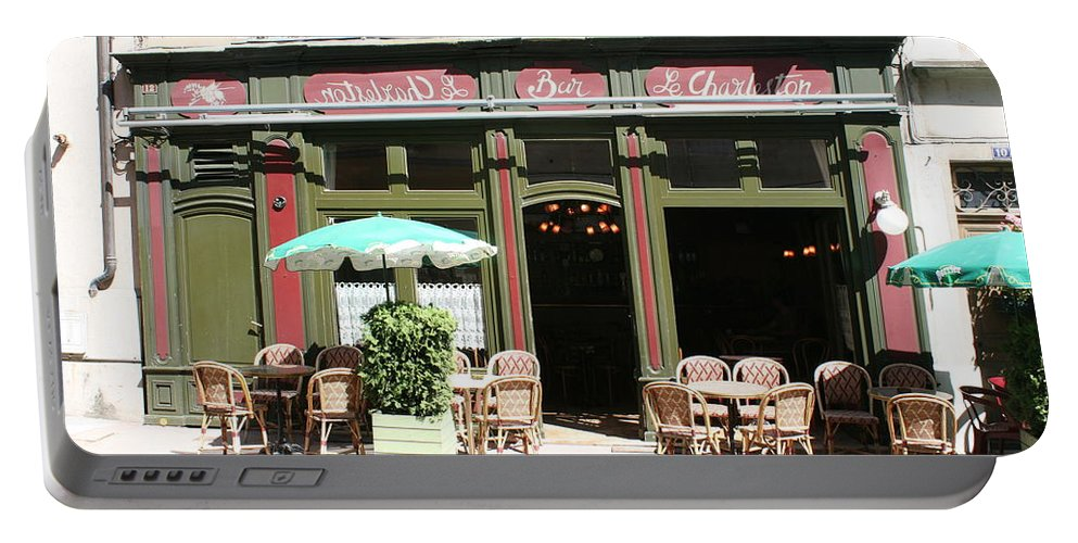 Bistro Portable Battery Charger featuring the photograph Le Charleston Bar In Tournus by Christiane Schulze Art And Photography