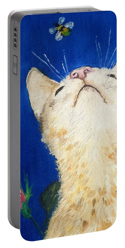 Cats Portable Battery Charger featuring the painting Lea And The Bee by Reina Resto