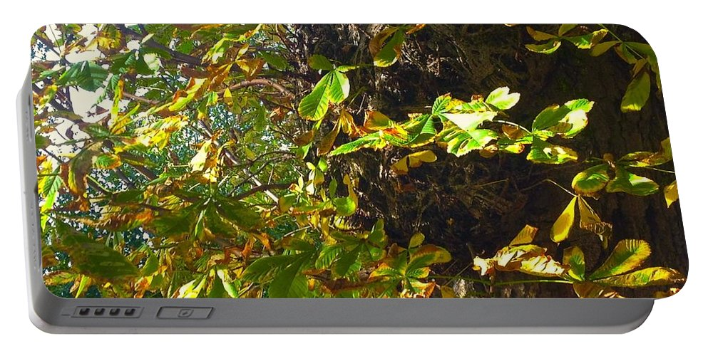 Leafy Image Portable Battery Charger featuring the photograph Leafy Tree Bark Image by Joan-Violet Stretch