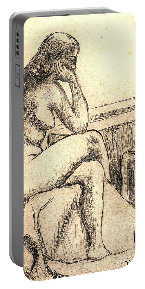 Nude Portable Battery Charger featuring the drawing Leaning Into The Day by Kendall Kessler