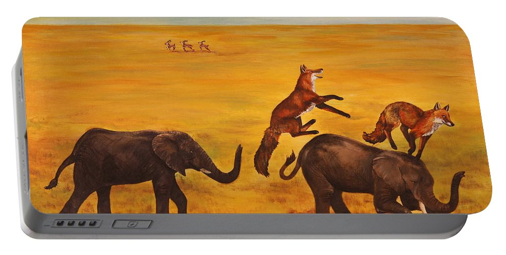 Fox Portable Battery Charger featuring the painting Leap Frog by Michelle Miron-Rebbe