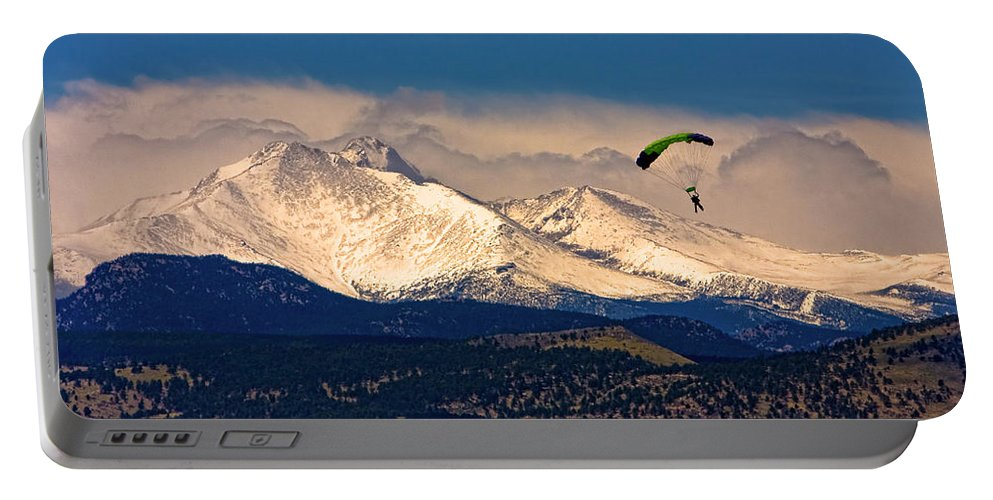 Oulder County Portable Battery Charger featuring the photograph Leap Of Faith by James BO Insogna