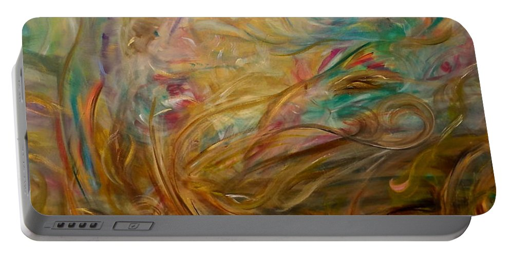 Whimsical Abstract Portable Battery Charger featuring the painting Leaping Aloud by Sara Credito