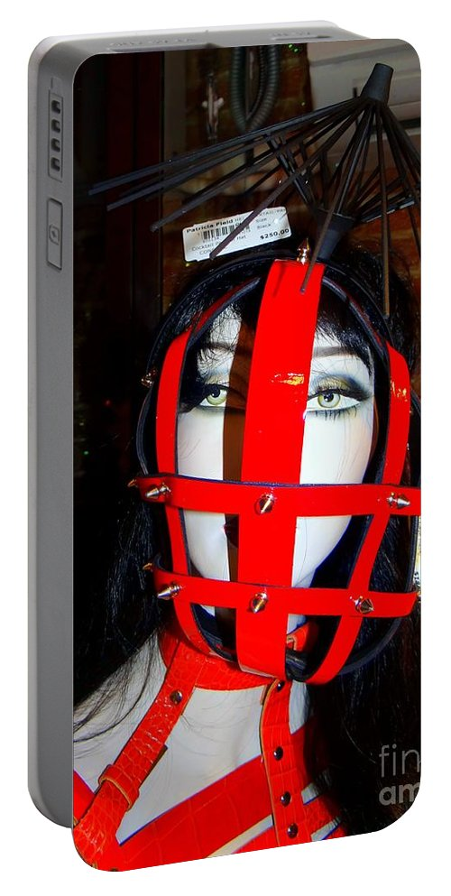Mannequins Portable Battery Charger featuring the photograph Leather Lattice by Ed Weidman