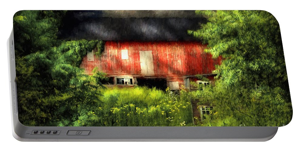 Barn Portable Battery Charger featuring the photograph Leave Our Farms by Lois Bryan
