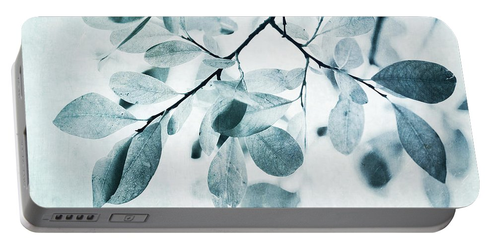 Foliage Portable Battery Charger featuring the photograph Leaves In Dusty Blue by Priska Wettstein