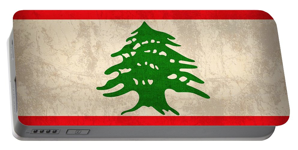 Lebanon Flag Vintage Distressed Finish Portable Battery Charger featuring the mixed media Lebanon Flag Vintage Distressed Finish by Design Turnpike