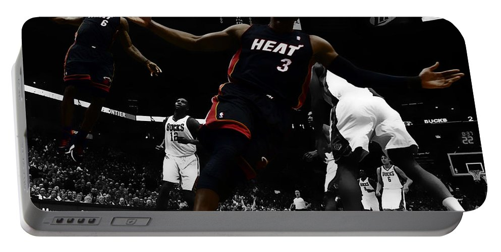 Lebron James Portable Battery Charger featuring the digital art Lebron And D Wade Showtime by Brian Reaves