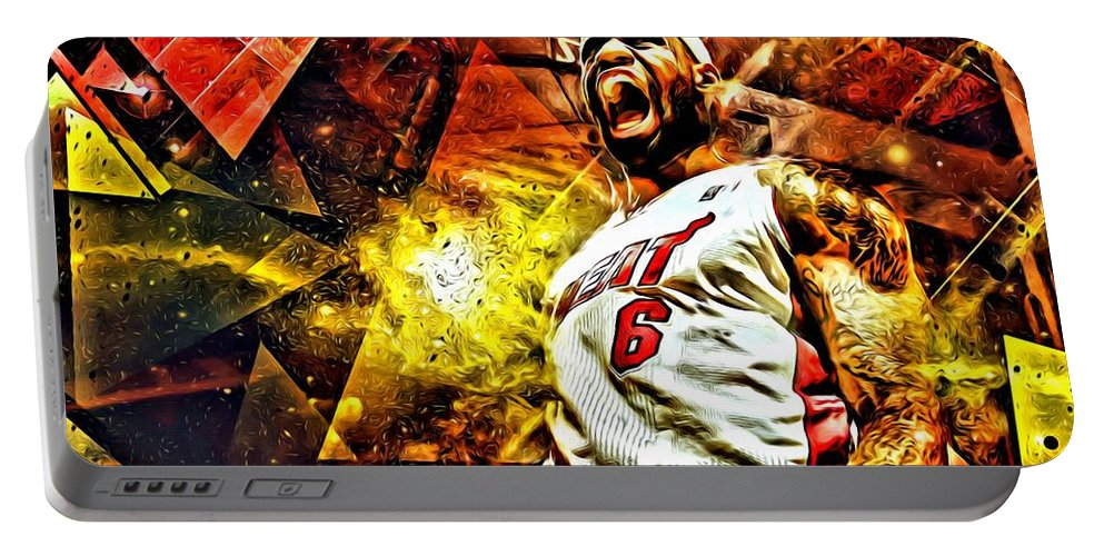 Nba Portable Battery Charger featuring the painting Lebron James Art Poster by Florian Rodarte