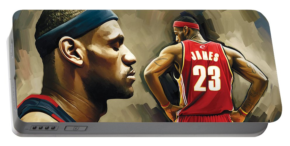 Lebron James Portable Battery Charger featuring the painting Lebron James Artwork 1 by Sheraz A