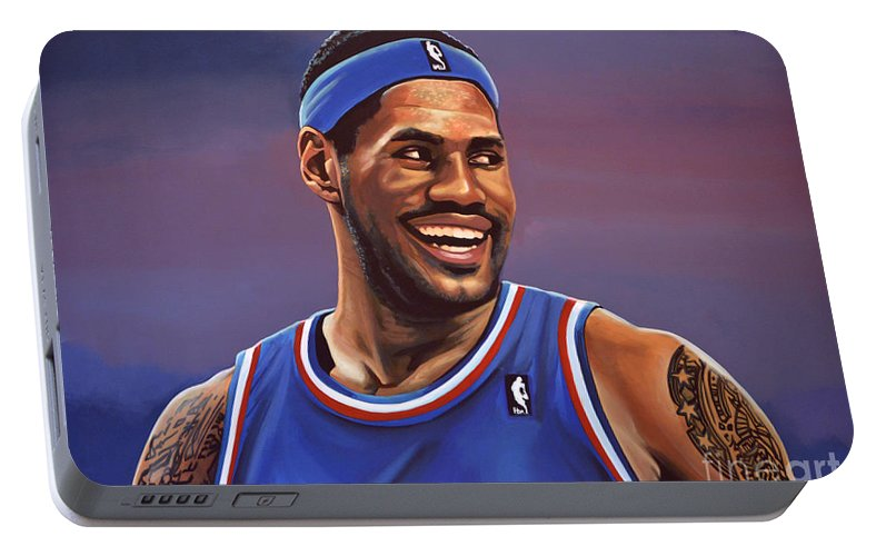 Lebron James Portable Battery Charger featuring the painting Lebron James by Paul Meijering