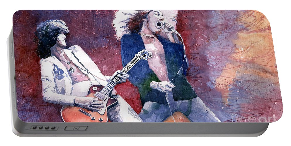 Watercolor Portable Battery Charger featuring the painting Led Zeppelin Jimmi Page And Robert Plant by Yuriy Shevchuk