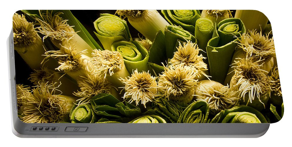 Jean Noren Portable Battery Charger featuring the photograph Leeks by Jean Noren