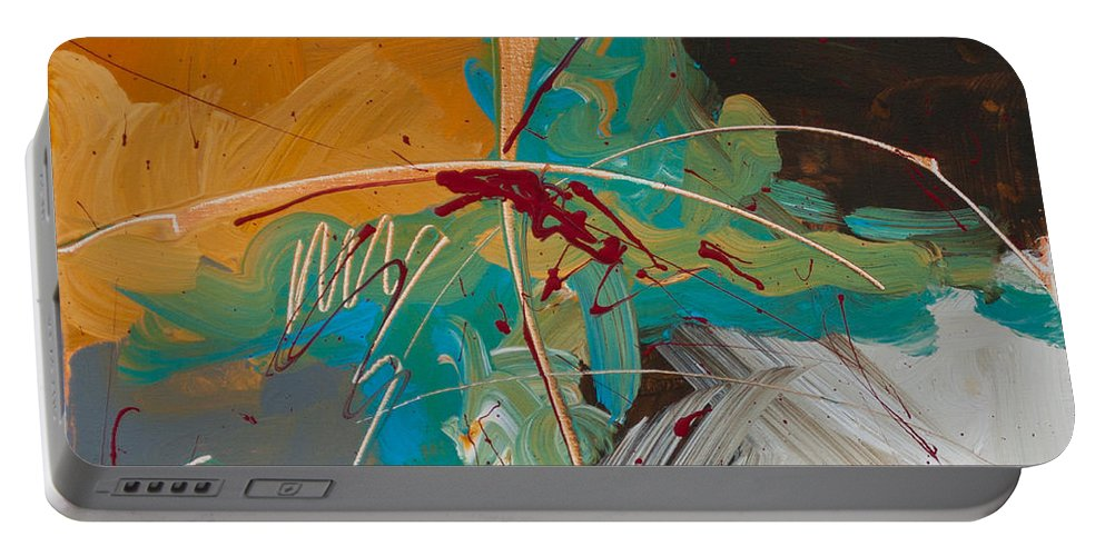 Abstract Portable Battery Charger featuring the painting Leftover Dreams by Paulette B Wright