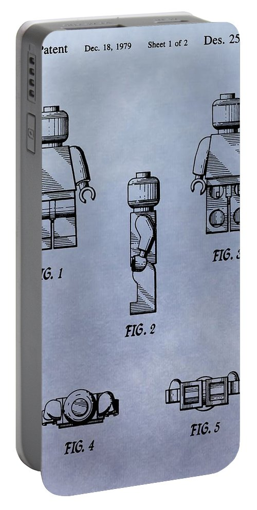Lego Toy Patent Portable Battery Charger featuring the digital art Lego Toy Patent by Dan Sproul