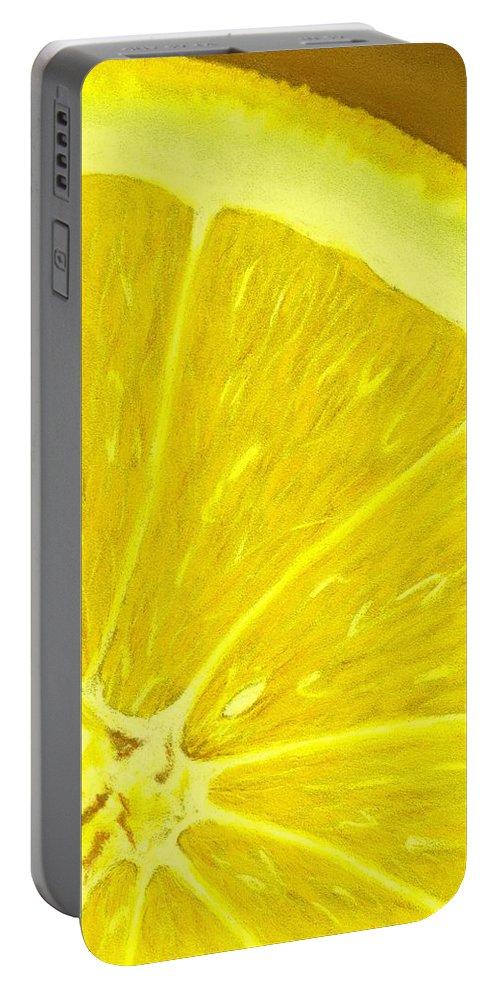 Salad Portable Battery Charger featuring the painting Lemon by Anastasiya Malakhova