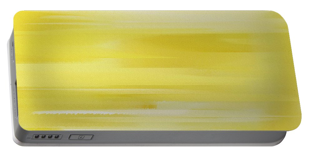 Andee Design Abstract Portable Battery Charger featuring the digital art Lemon Slices Abstract Square by Andee Design