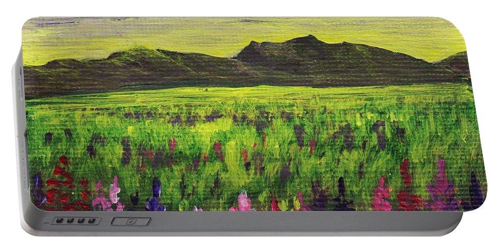 Calm Portable Battery Charger featuring the painting Lemon Yellow Sunset by Anastasiya Malakhova