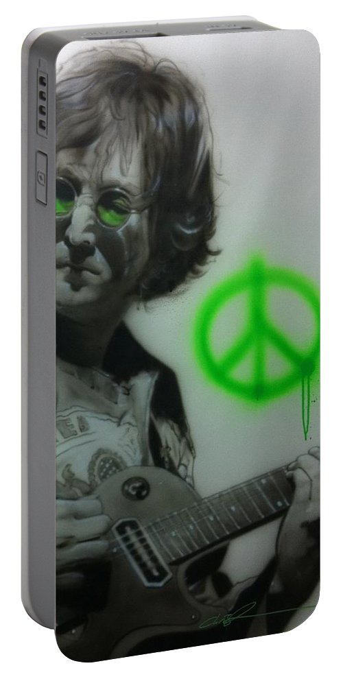 John Lennon Portable Battery Charger featuring the painting Lennon by Christian Chapman Art