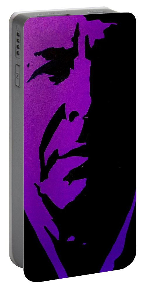 Icon Portable Battery Charger featuring the painting Leonard Cohen by John Nolan