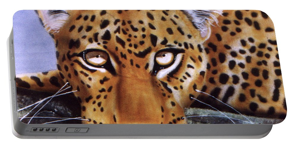 Leopard Portable Battery Charger featuring the painting Leopard in a tree by Thomas J Herring
