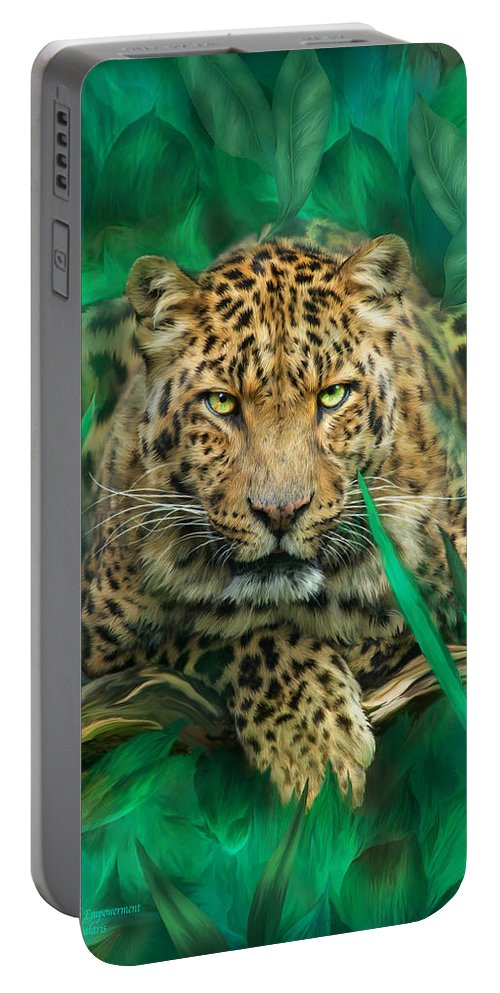 Leopard Portable Battery Charger featuring the mixed media Leopard - Spirit Of Empowerment by Carol Cavalaris