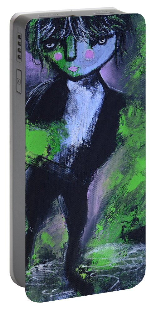 Leprechaun Portable Battery Charger featuring the painting Leprechaun by Donna Blackhall