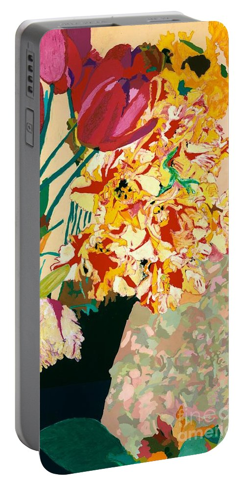 Landscape Portable Battery Charger featuring the painting Les Fleur by Allan P Friedlander