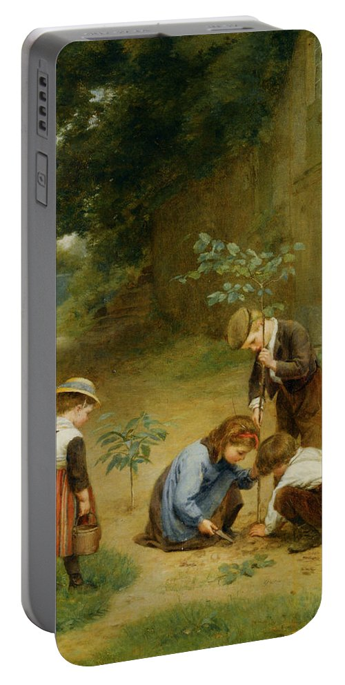 Les Jeunes Jardiniers Portable Battery Charger featuring the digital art Les Jeunes Jardiniers by Edouard Frere