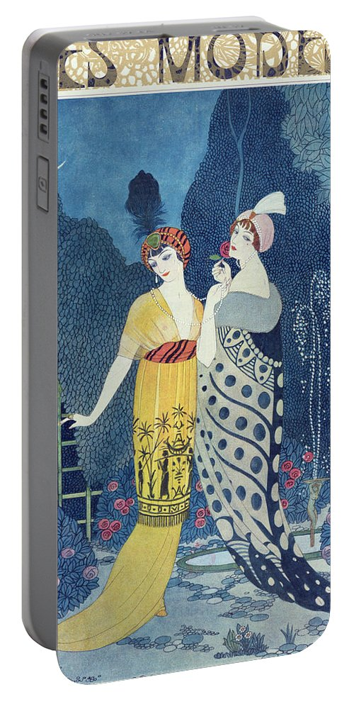 Art Deco Portable Battery Charger featuring the painting Les Modes by Georges Barbier